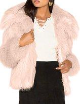 HaoDuoYi Womens Solid Long Sleeve Warm Lapel Soft Faux Fur Short Coat(M,)