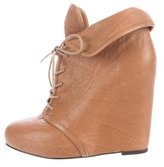 Elizabeth and James Leather Wedge Ankle Boots