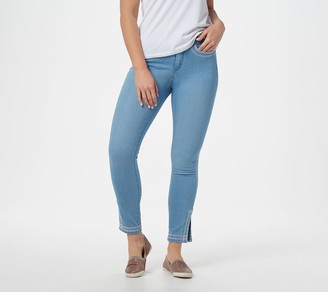 Martha Stewart Petite Embroidered Ankle Jeans with Side Slits