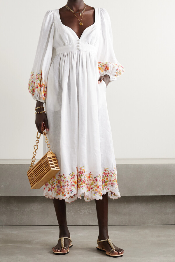 Thumbnail for your product : Zimmermann Mae Scalloped Embroidered Linen Midi Dress - Ivory