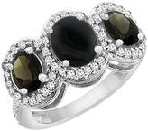 PIERA 14K White Gold Natural Onyx & Smoky Topaz 3-Stone Ring Oval Diamond Accent, size 5