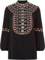 Vilshenko Black Silk Embroidered Lucy Blouse