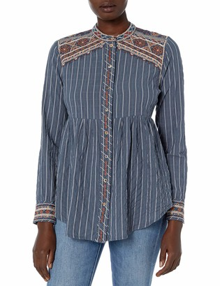3J Workshop by Johnny was Women's Striped Buttondown Shirt with Embroidery and Mandarin Collar