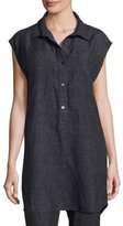 Eileen Fisher Sleeveless Washed Délavé Linen Tunic, Denim, Petite
