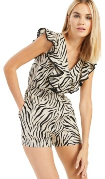 INC International Concepts Inc Printed Flutter-Sleeve Romper, Created for Macy's