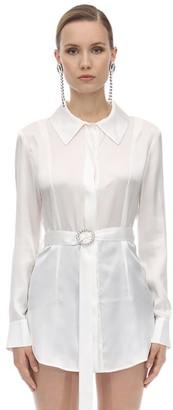 MATÉRIEL Belted Silk Satin Shirt
