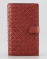 Bottega Veneta Woven Continental Wallet, Rusty Red