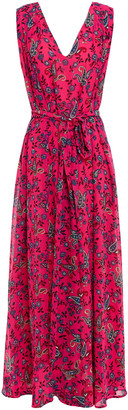 Claudie Pierlot Gathered Paisley-print Crepe De Chine Maxi Dress