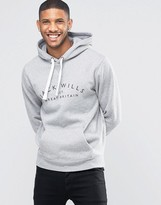 Jack Wills Hoodie With Wills Print In Gray Marl