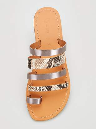 Very Hatton Leather Wide Fit Strappy Flat Sandal