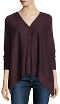 Neiman Marcus Cashmere Collection Superfine Button-Front Draped Cashmere Cardigan