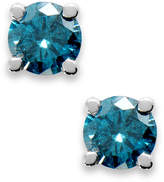 Macy's 10k White Gold Blue Diamond Round Stud Earrings (1/4 ct. t.w.)