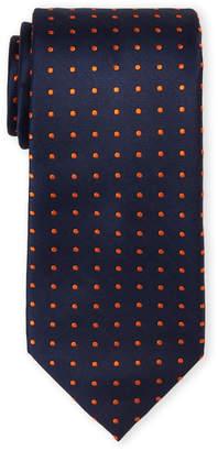 Tommy Hilfiger Orange Dot Silk Tie