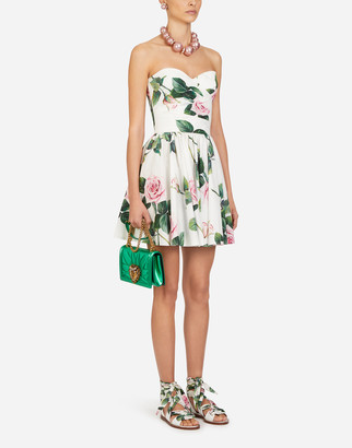 Dolce & Gabbana Short Poplin Tropical Rose Print Dress