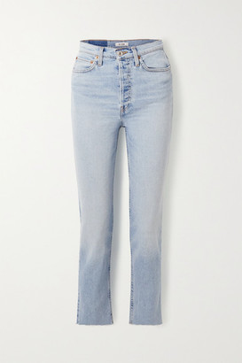 RE/DONE Caro Daur Cropped Frayed High-rise Slim-leg Jeans - Light denim
