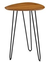 "Walker Edison 18"" Contemporary Hairpin Leg Guitar Pick Side Table - Walnut"