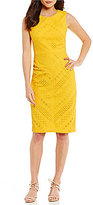 Maggy London Ribbon Stripe Eyelet Midi Sheath Dress