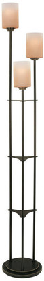 Lite Source Inc. 3-Lite Floor Lamp, Dark Bronze W Amber Glass, E27 A 60Wx3