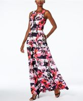 Vince Camuto Floral-Print Striped Maxi Dress