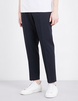 Sandro Tailored-fit tapered mid-rise wool-blend trousers