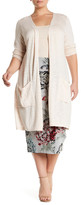 Melissa McCarthy Tie Back Mixed Media Long Cardigan (Plus Size)