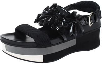 Marni Black Mesh And Patent Leather Embellished Slingback Platform Flat Sandals Size 37