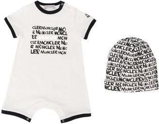 Moncler Enfant Logo Print Shorties And Hat Set