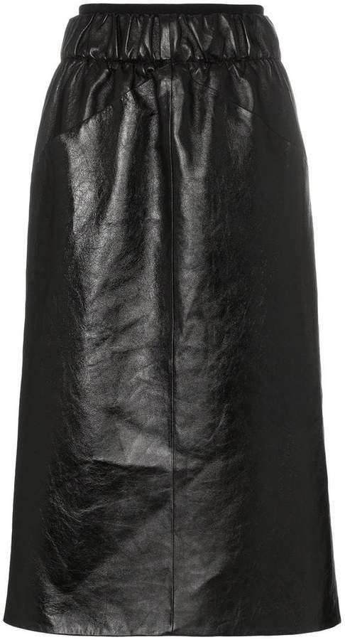 Givenchy Gathered-waist lambskin knee-length skirt