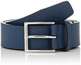 Barneys New York Men's Grained Leather Belt-NAVY