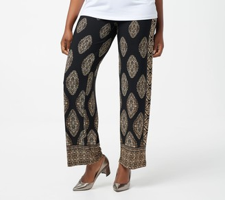 Susan Graver Petite Printed Liquid Knit Wide Leg Pants