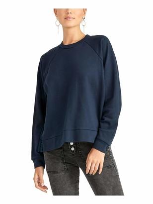 Rachel Roy Womens Navy Eyelet Long Sleeve Jewel Neck Sweater Size: M