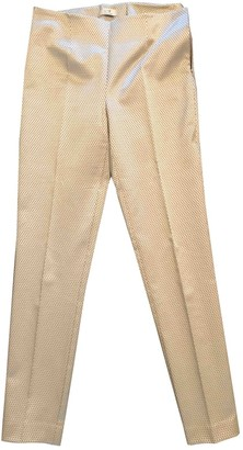 Non Signé / Unsigned Non Signe / Unsigned Gold Cotton Trousers for Women