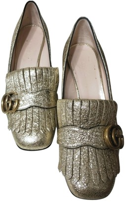 Gucci Marmont Gold Leather Heels