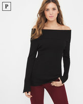 White House Black Market Petite Off-The-Shoulder Slit Sleeve Sweater