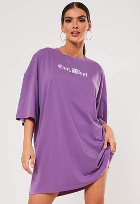 Missguided Sxf X Purple Embroidered Oversized T Shirt