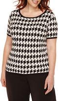 Liz Claiborne Short-Sleeve Houndstooth Sweater - Plus