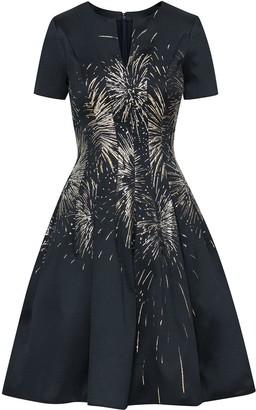 Oscar de la Renta Jacquard Fireworks Cocktail Dress