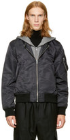 R 13 Black Hooded Flight Jacket