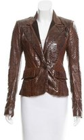 Roberto Cavalli Leather-Accented Python Blazer