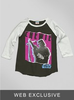 Junk Food Clothing Kids Girls The Force Awakens Chewie Raglan-bw/su-l