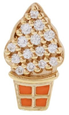 Judith Leiber 14K Goldplated Sterling Silver & Cubic Zirconia Ice Cream Single Stud Earring
