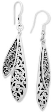 Lois Hill Scroll Work & Filigree Double Drop Earrings in Sterling Silver