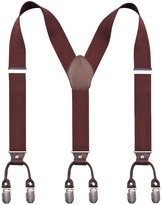Alizeebridal Men's 3.5cm Elastic Band Genuine Leather Suspenders 6 Clips