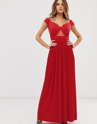 ASOS DESIGN premium lace and pleat bardot maxi dress in bright red