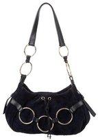 Saint Laurent Ring Accented Suede Shoulder Bag
