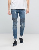 Asos Super Skinny Jeans With Biker Details In Mid Wash