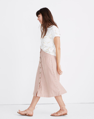 Madewell Patio Button-Front Midi Skirt in Clay Stripe