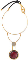 Marni Gold-tone, Resin, Horn And Leather Necklace - one size