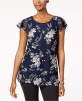 Charter Club Embroidered Mesh Top, Created for Macy's