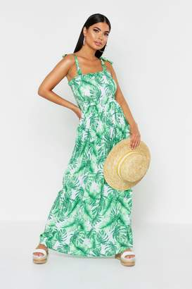 boohoo Petite Tie Strap Shirred Tropical Print Maxi Dress